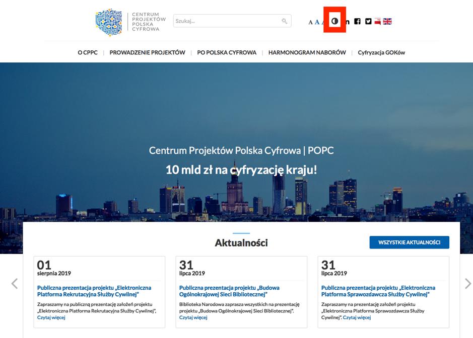 strona CPPC z widzetem umowliwiajacym zmiane kontrastu